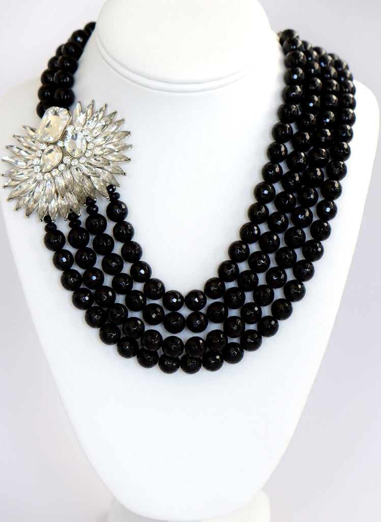 Heftsi Black Onyx 4 Row Necklace With Swarovski Crystal Side Pendant