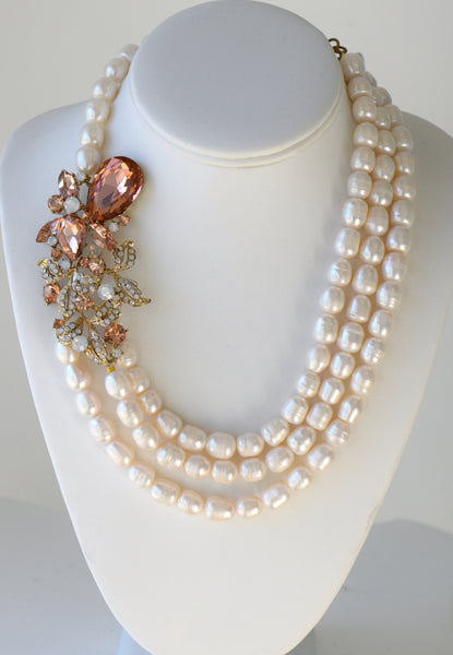 Cristina -  Fresh Water Pearls Necklace With Large Side Flower Pendant