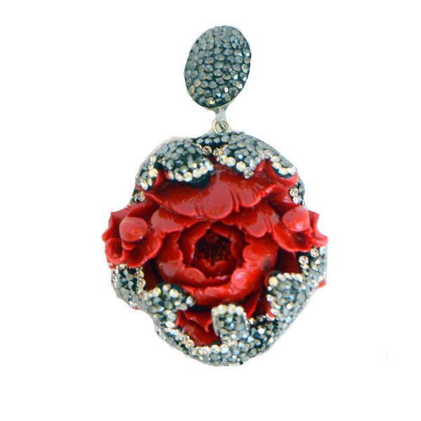 Red Rose Long Necklace With Pave Ends