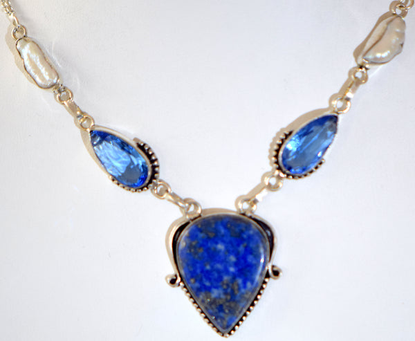 Blue Lapis Pearls an Topaz necklace
