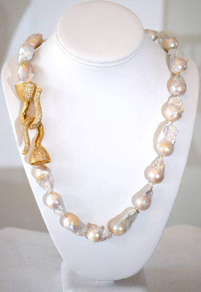 Beatrice -  Barouque Pearls Necklace With Large Pave Gold Clasp on the side