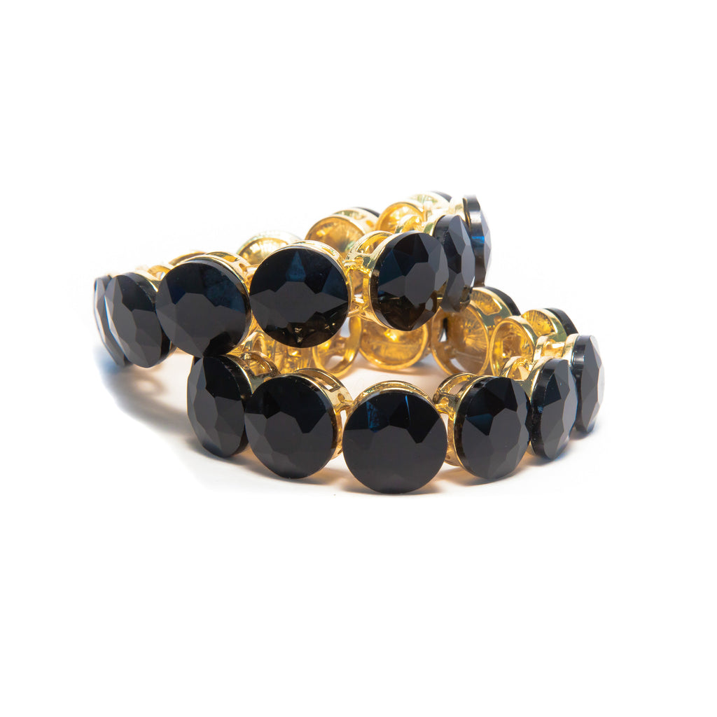 Black Onyx with gold plated bracelet