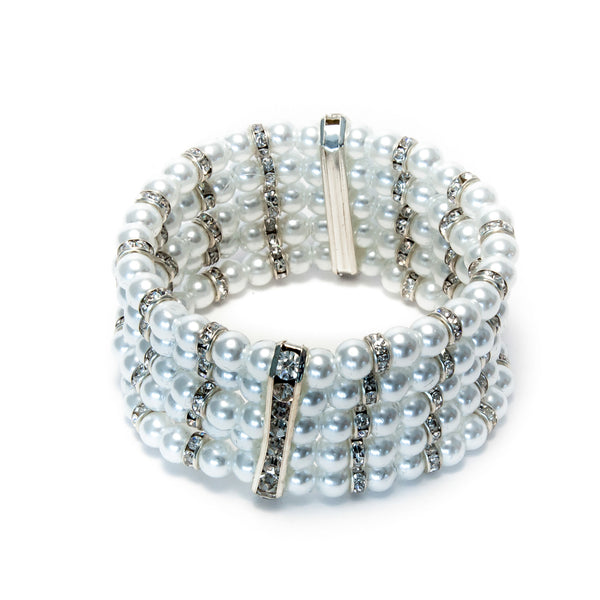 Pearls Bracelet 5 row with silver roundel