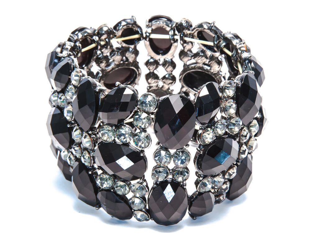 Black Stone Bracelet With Cubic Zirconia