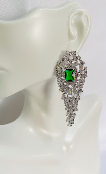 Green And Clear Cubic Zirconia Evening Earring