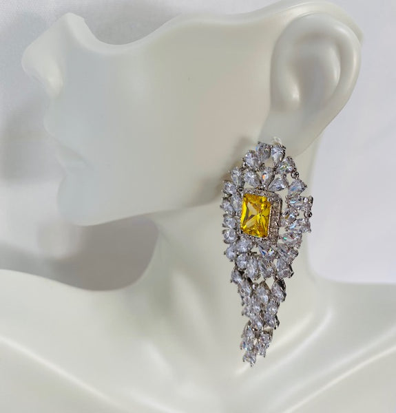 Yellow And Clear Cubic zirconia Earrings