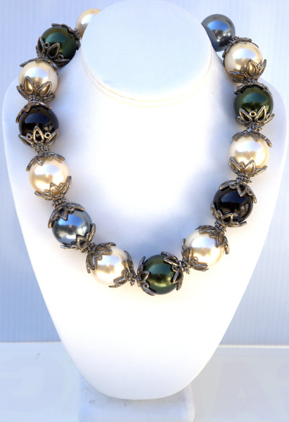 Large Faux Pearls Necklace Multi color