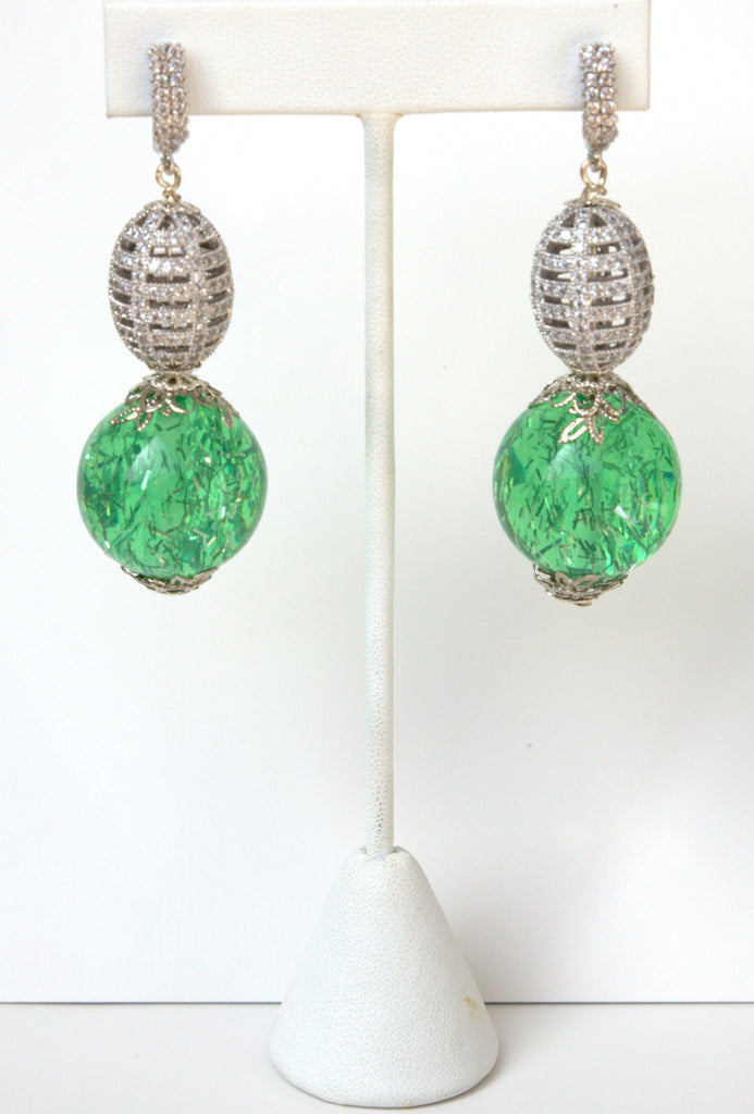Green And Pave Silver Ball Earrings