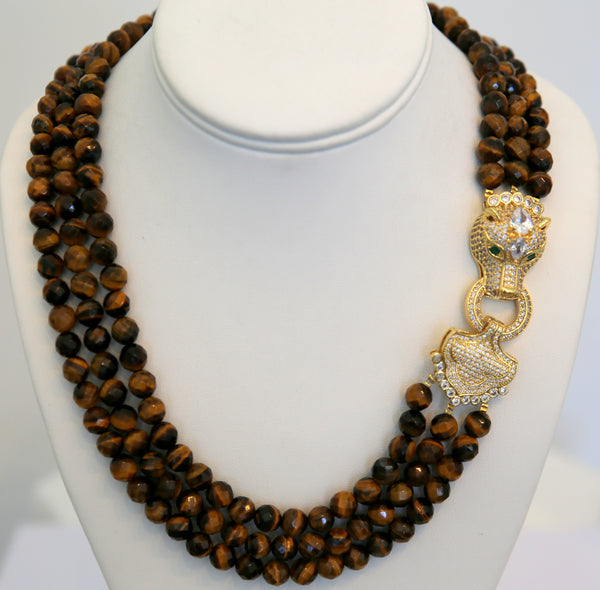 Tiger Eye 3 row necklace with gold panther clasp