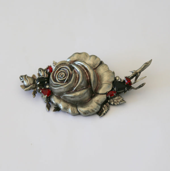 Sliver-tone Rose Pin/ Brooch with Red Rhinestones