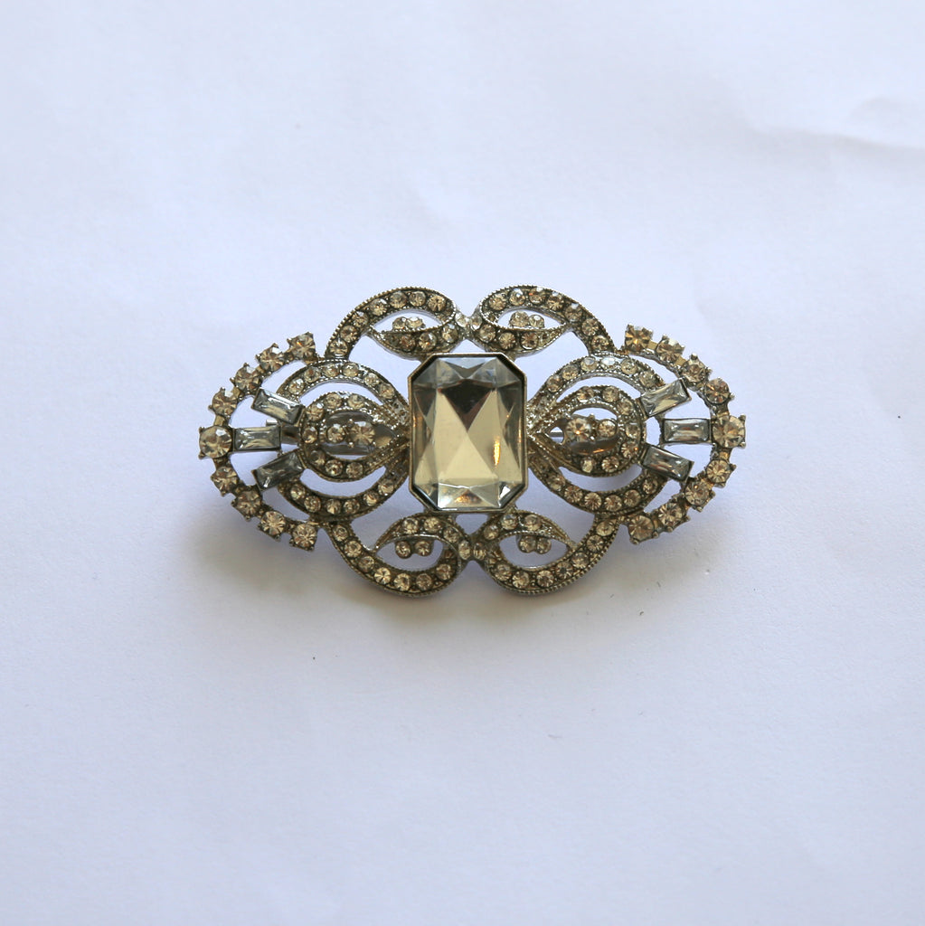 Vintage Clear Rhinestone Pin/ Brooch