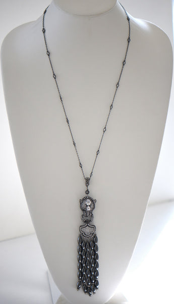 Heftsi Long Hematite Necklace With Lion Face