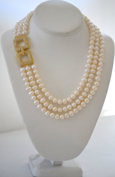 Heftsi Fresh Water Pearls 3 row Necklace With Side Gold Pave Clasp