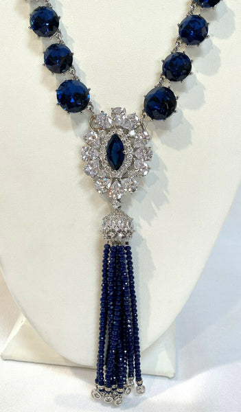 Blue Cubic Zirconia Necklace With Swarovski Crystal Tassel Hand Made in the USA