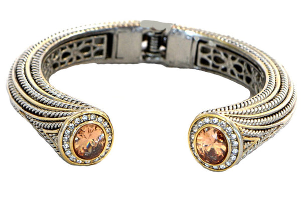 Heftsi Two Tone Bracelet With Peachy CZ Stone