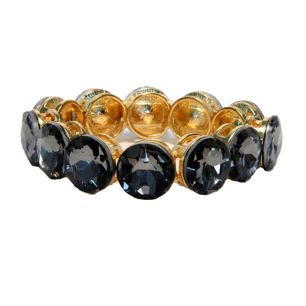 Heftsi Gold Bracelet With Grey Cubic Zircon Stone