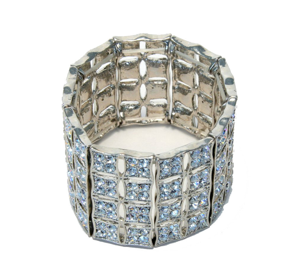 Heftsi silver Plated bracelet With Clear Rhinestone