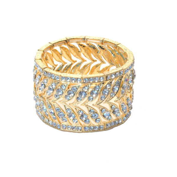 Heftsi Gold plated Bracelet with clear rhinestones