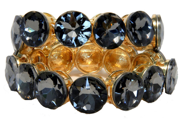Gold Plated Bracelet With Cubic Zirconia Grey Stone