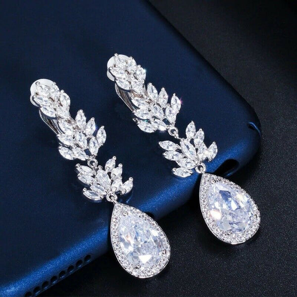 Clip On Cubic zirconia Earrings,No whole Wedding collection, Bridle, Mother of the bride