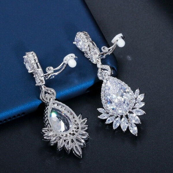 Clip On Earrings Cubic Zirconia , elegant and classic Hand made