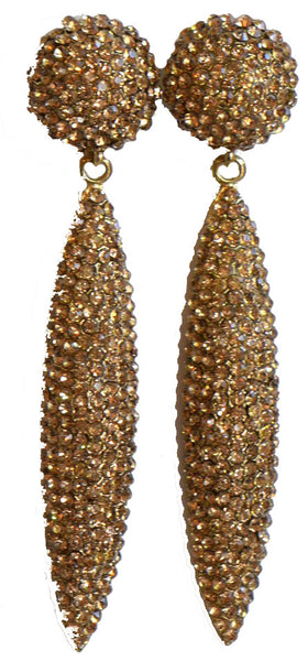 Heftsi Long Gold Rhinestone Earrings