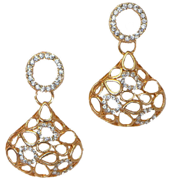Heftsi Gold plated Earrings With Clear stone