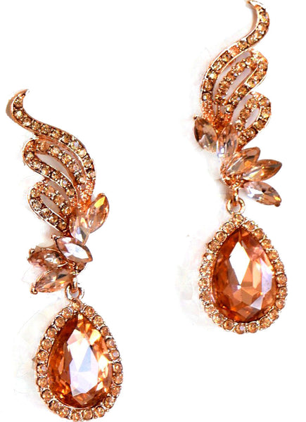 Heftsi Peach Color CZ Earrings