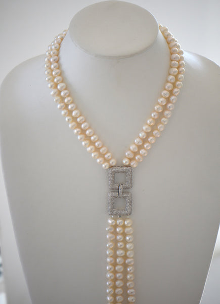 Heftsi silver Fresh water Pearl Necklace with Silver pendant