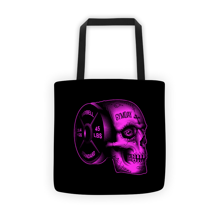 pink iron skull tote bag