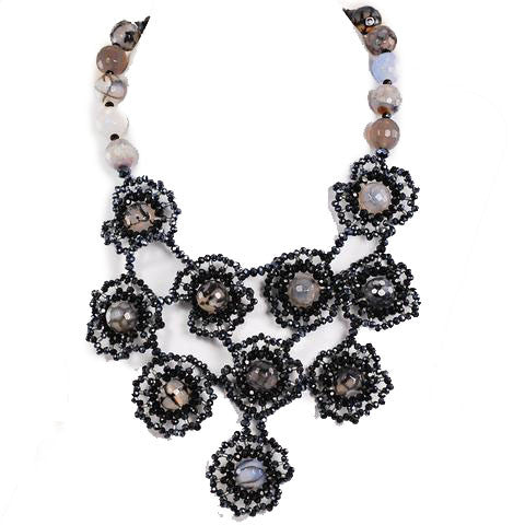 "Black Crystal & Dragon Vein Agate Lace Bib Necklace w/Silver Tone Clasp 17-20.5"" 0485"