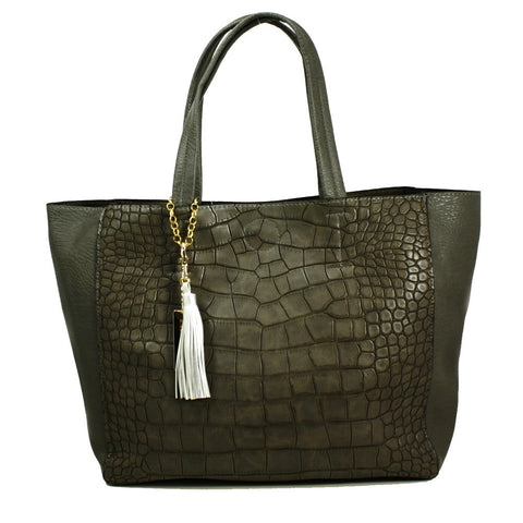 Mock-Croc Tote Bag with Clutch inside -- DB03912