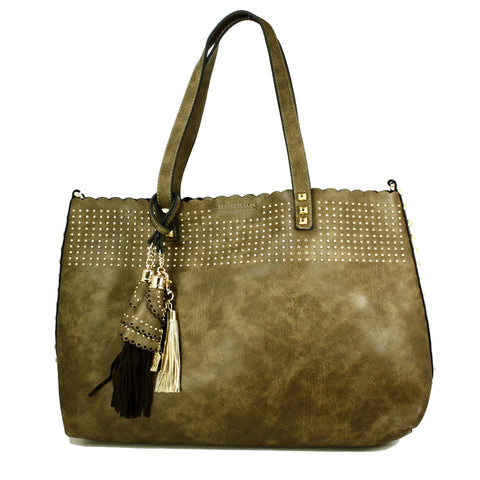 Front Beaded Shopper Bag with Clutch inside -- DB05414