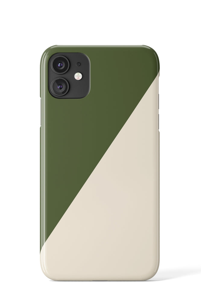 Load image into Gallery viewer, Block Colour Diagonal Case (Green & Beige) - iPhone