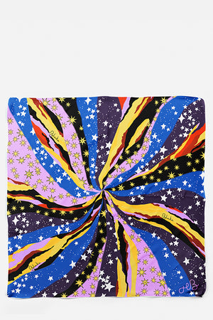 Nightfalls Big Bang Silk Habotai Scarf, Stars
