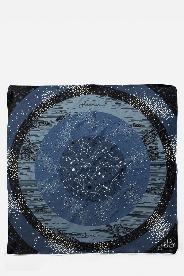 Nightfalls Universe Silk Habotai Scarf, Constellations