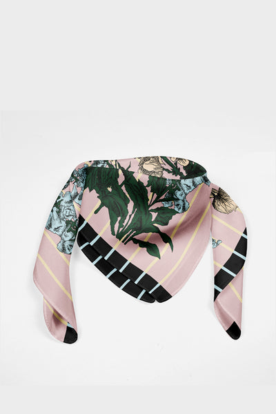 Harper Stripes Flower Silk Scarf