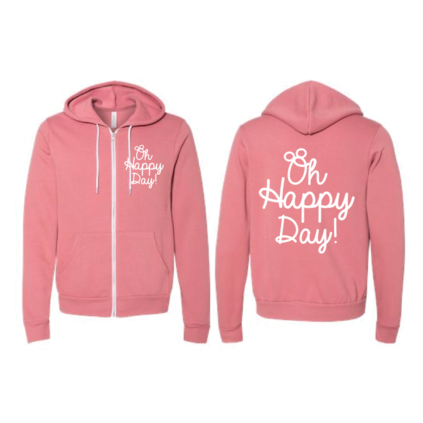 Oh Happy Day - Zip Hoodie - Mauve