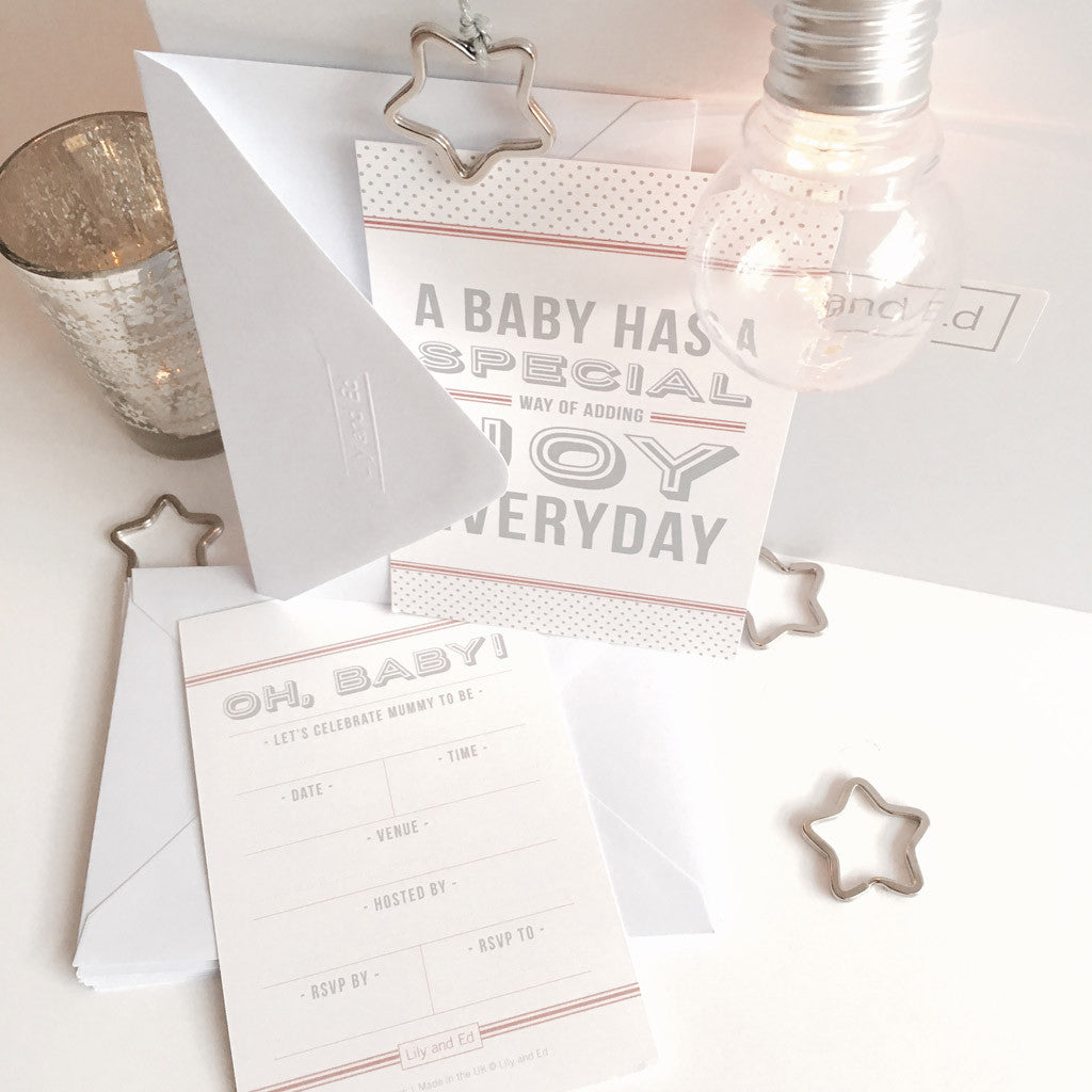 Baby Shower Invitations in Blush Pink | Lily and Ed