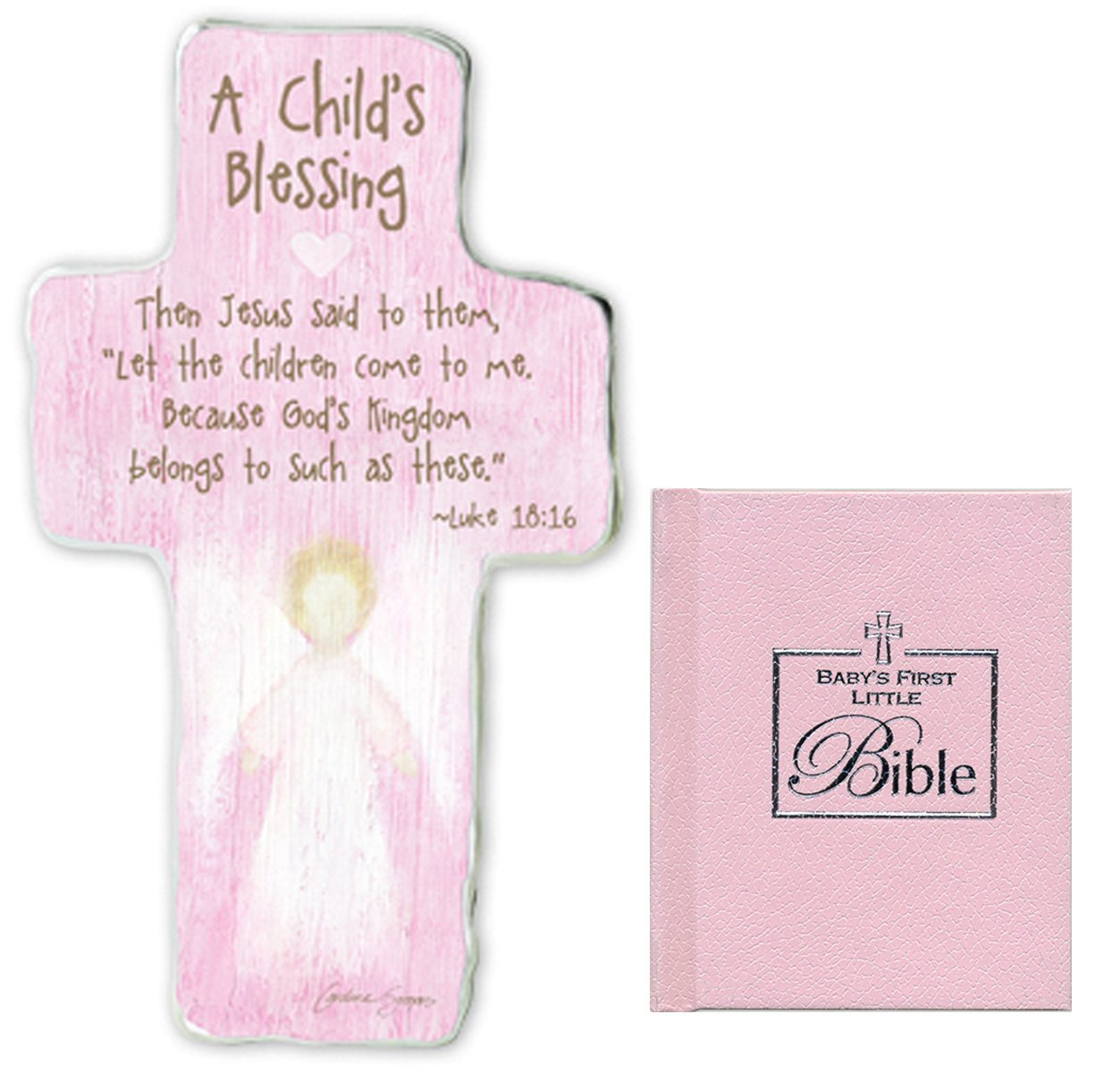 Christening Gifts For Girl Gift Set Pink Caroline Simas Artmetal Cross For Baby Girls And Baby S First Bible Baptism Gifts For Girls From Godmother