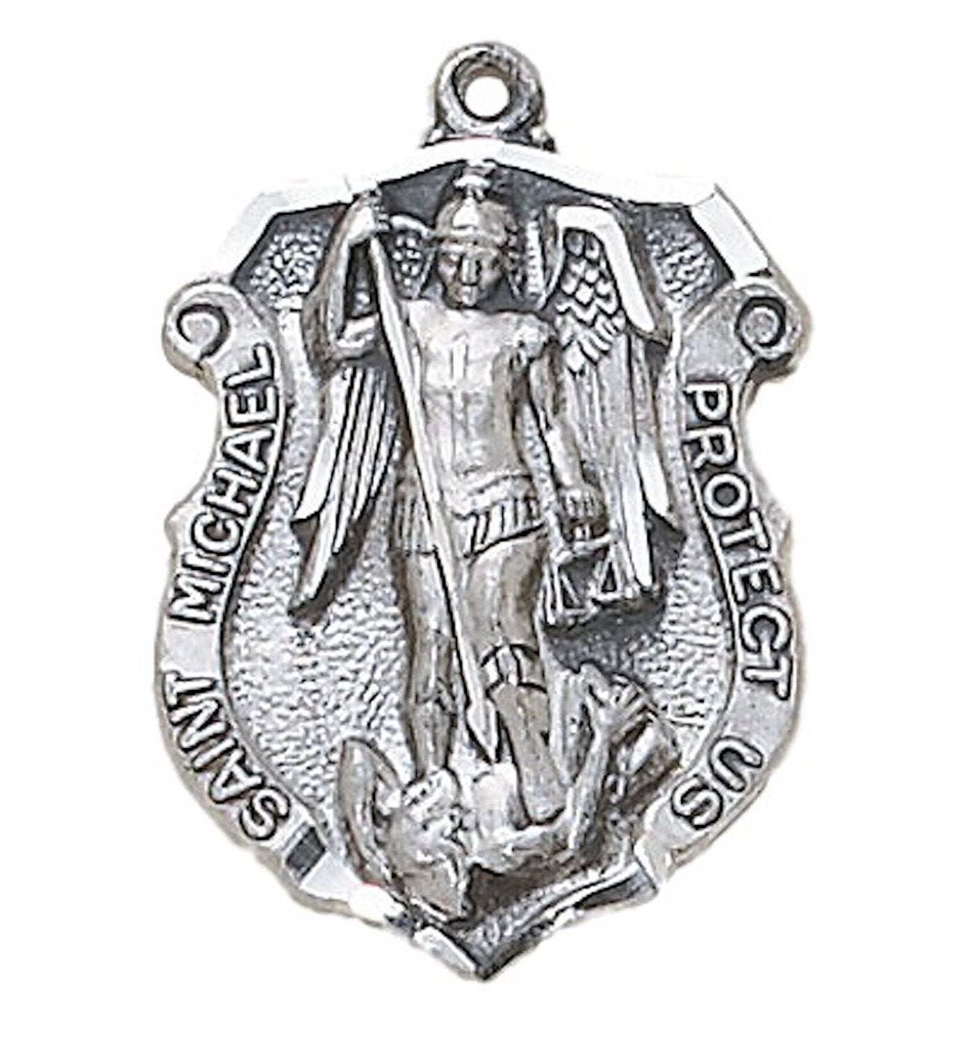 inch michael medal pewter st pendant chain catholic michaels the company