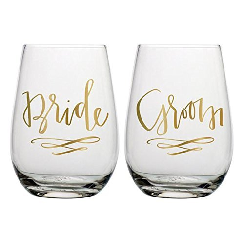 Bride and Groom Stemless Wine Glasses