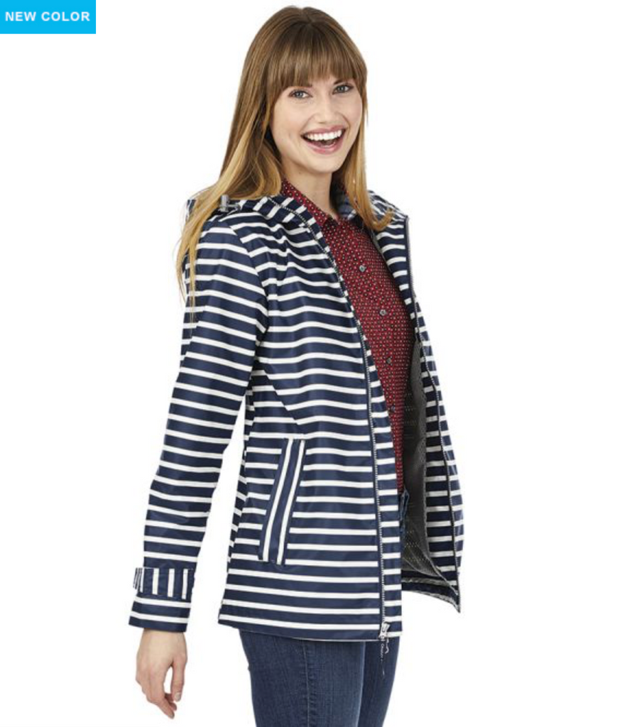 Women's New Englander Printed Rain Jacket-Navy
