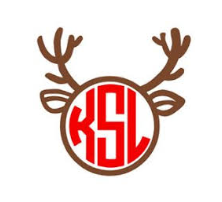 Reindeer Monogram Decal