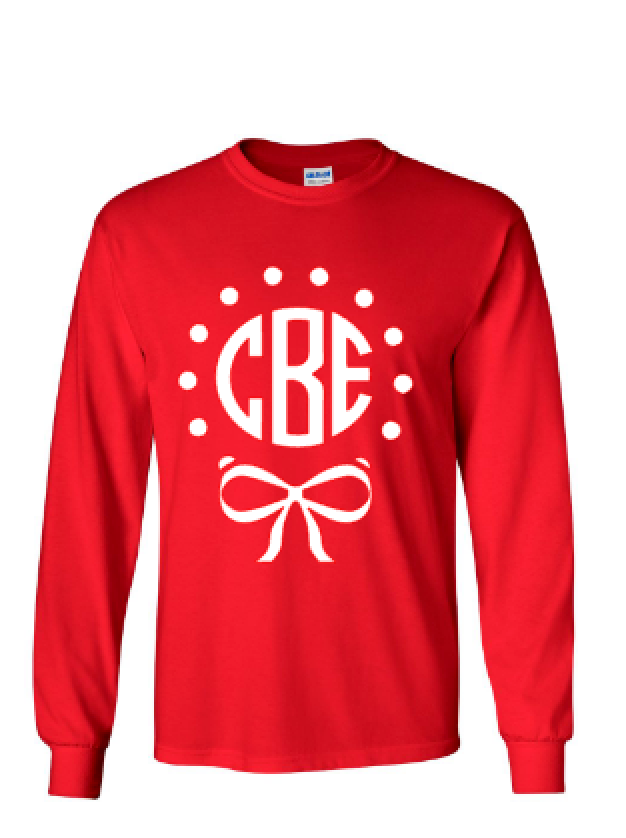 Christmas Bow Monogram T Shirt