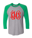 Christmas Vines Monogram Raglan