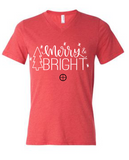 Christmas Short Sleeve V Neck Merry and Bright