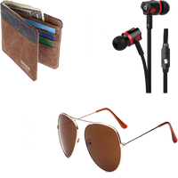 (3-in-1) Leather Wallet + Headphones with mic + Aviator Sunglasses