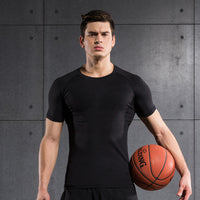 Men Compression Shirt Tights Fitness Short Sleeve
