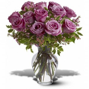 One Dozen Purple (Lavender) Rose Bouquet